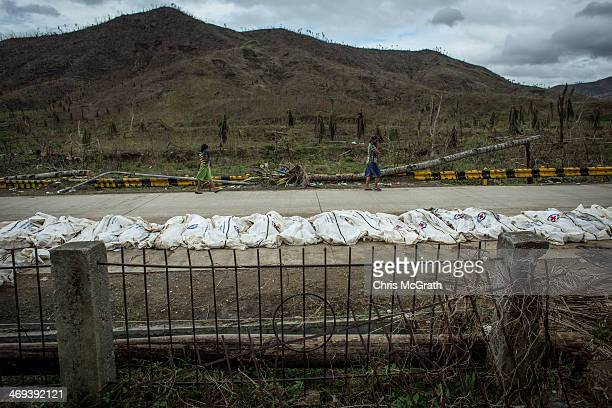 Bodies are seen on a road before being placed in a mass grave on the outskirts of Tacloban City on November 20 2013 in Leyte Philippines Typhoon...