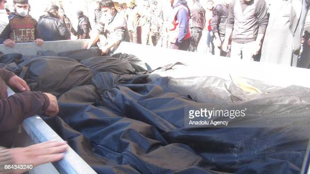 Bodies of chlorine gas victims are seen after a suspected chlorine gas attack by Assad Regime forces to Khan Shaykhun town of Idlib Syria on April 4...