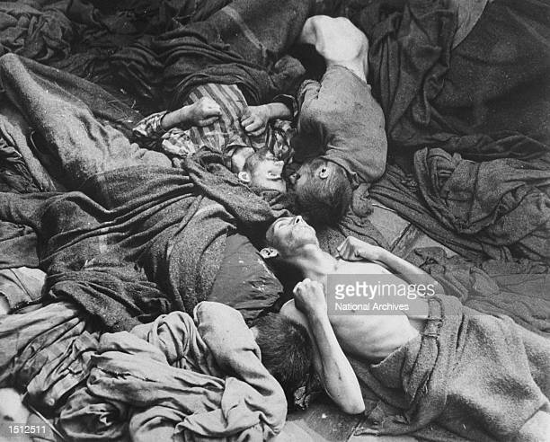 Bodies of prisoners who were transported to Dachau Germany from another concentration camp lie grotesquely April 30 1945 as they died en route This...