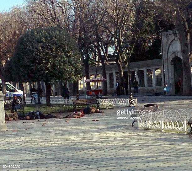 Bodies of the people are seen on the ground at the Sultanahmet tourist district after an explosion in Istanbul Turkey on January 12 2016 Turkish...