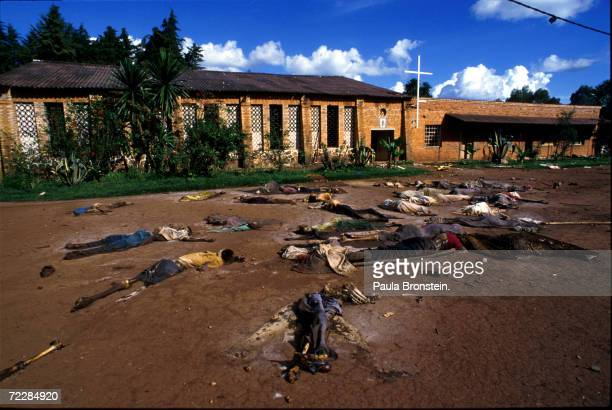 Bodies of Tutsi genocide victims lie outside a church in Rukara Rwanda May 1994 One of the worst single acts of violence took place at the church...