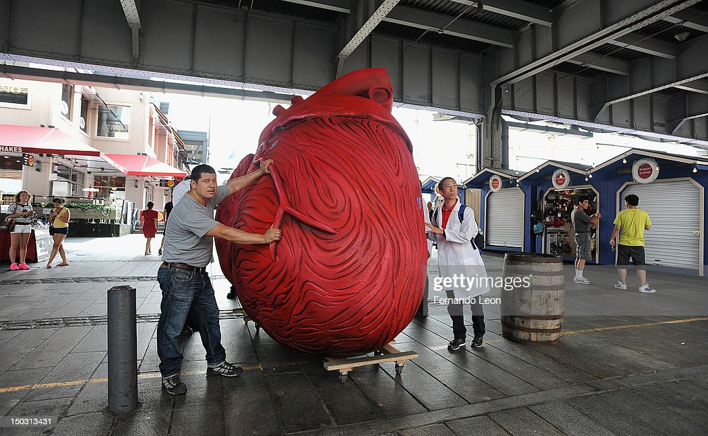 'Bodies... The Exhibition' docents carrying a Huge Heart Statue at South Street Seaport on August 15, 2012 in New York City.