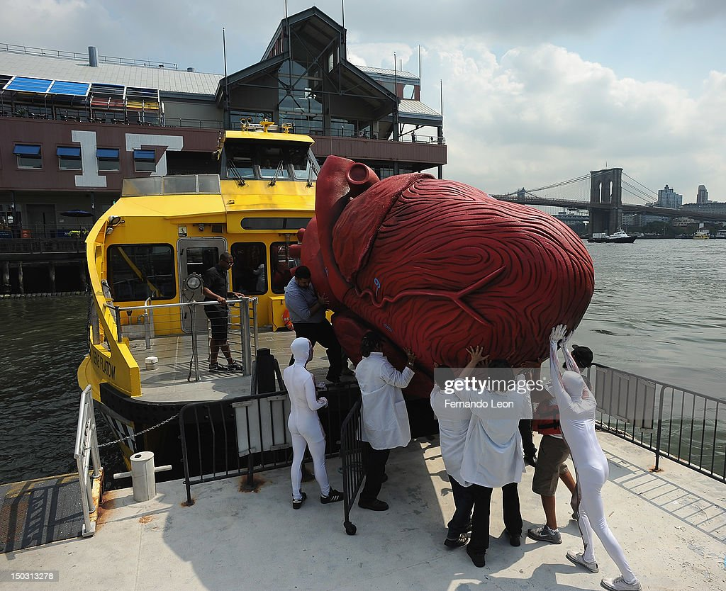 Bodies...The Exhibition docents unload a Huge Heart Statue off of a NYC Water Taxi at South Street Seaport on August 15, 2012 in New York City.