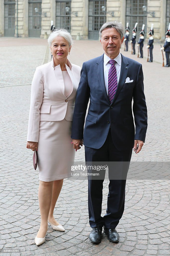 Bodil Ullerup and Ove Ullerup are seen at Drottningholm Palace for the Christening of Prince Oscar of Sweden on May 27, 2016 in Stockholm, Sweden.