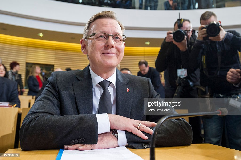 Bodo Ramelow head of the leftist Die Linke party faction in the Thuringia state parliament is seen before parliament members prior to the results in...