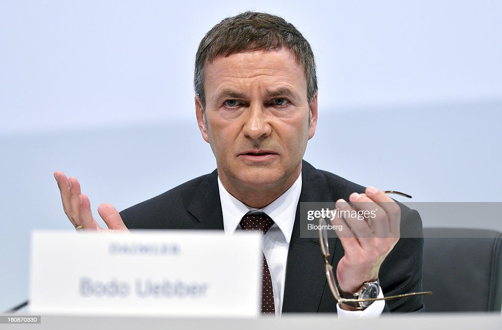 Bodo Uebber, chief financial officer of Daimler AG, speaks during a news conference to announce the company's results in Stuttgart, Germany, on Thursday, Feb. 7, 2013. Daimler AG, the world's third-largest maker of luxury vehicles, forecast unchanged 2013 profit as spending for new models and a revamp of the automaker's operations eat into earnings. Photographer: Guenter Schiffmann/Bloomberg via Getty Images
