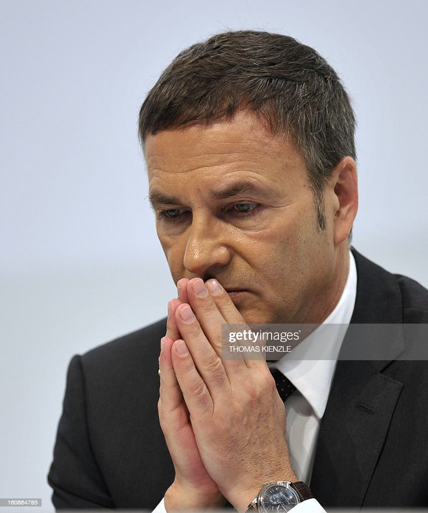 Bodo Uebber, member of the board for finances of German auto giant Daimler reacts during the company's annual press conference in Stuttgart, southwestern Germany, on February 7, 2013. German automaker Daimler said Thursday that its net profit rose by 8,0 percent to 6,495 billion euros ($8,8 billion) in 2012 on the back of record unit sales and revenues. AFP PHOTO / THOMAS KIENZLE