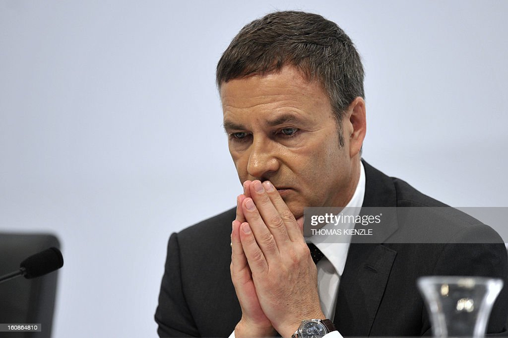 Bodo Uebber, member of the board for finances of German auto giant Daimler reacts during the company's annual press conference in Stuttgart, southwestern Germany, on February 7, 2013. German automaker Daimler said Thursday that its net profit rose by 8,0 percent to 6,495 billion euros ($8,8 billion) in 2012 on the back of record unit sales and revenues.