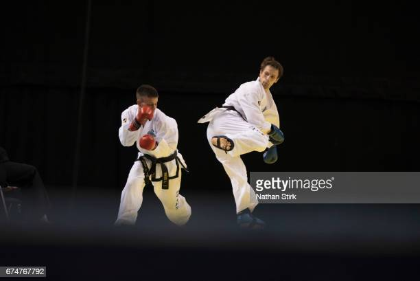 Bodrove Aleksandr of Russia is kicked by Alen Bracko of Slovenia during day three of the 2017 European Taekwondo Championships at The Echo Arena on...