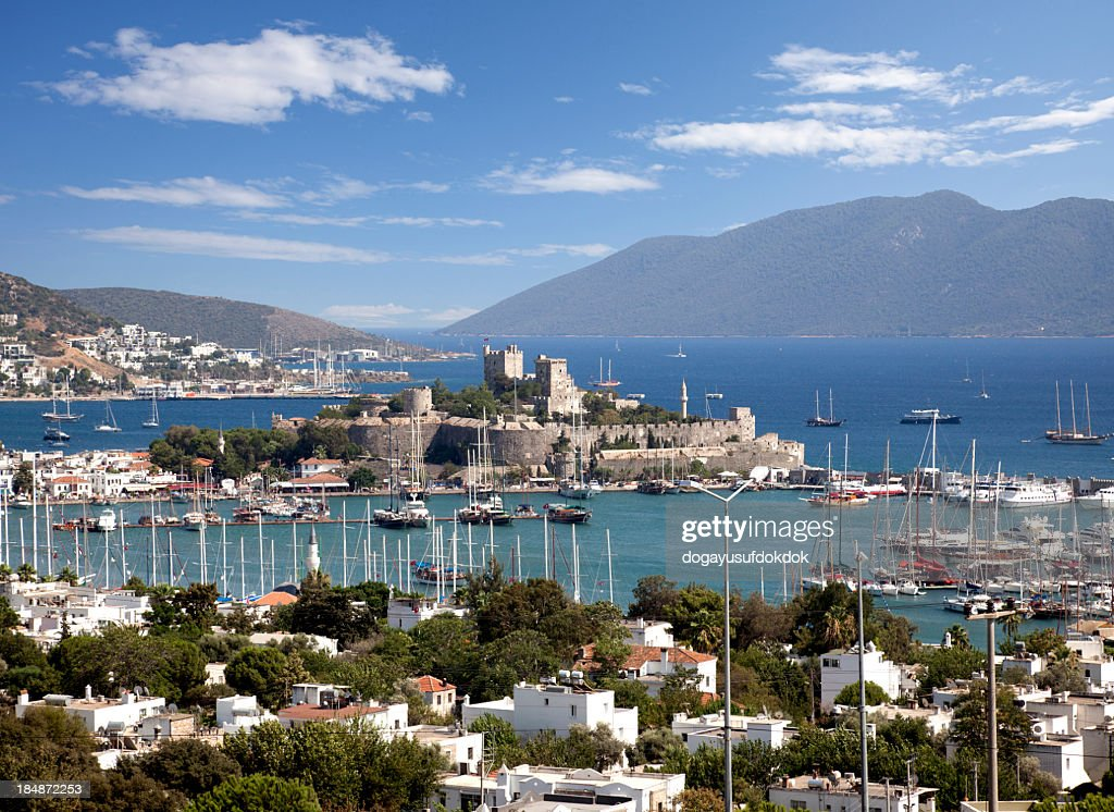 Bodrum castle in Turkey in center of bay : Stock Photo