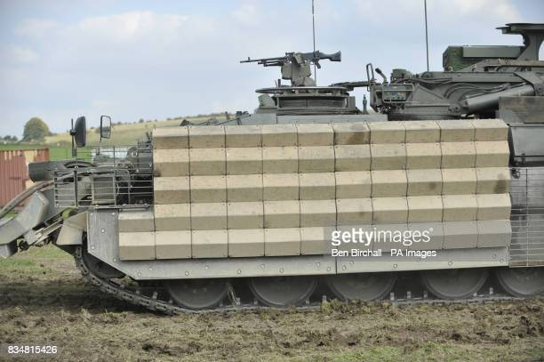 Body armour fitted to a Challenger Armoured Repair and Recovery vehicle in the form of heavy duty metal grids causing antitank weapons to detonate...