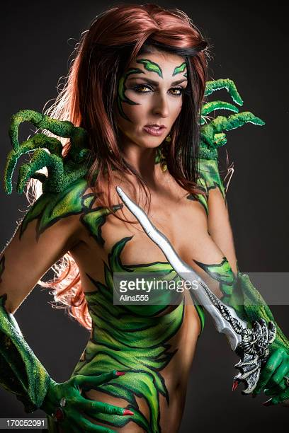 Body art: Alien goddess with sword