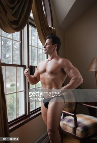Body Builder At Home : Stock Photo