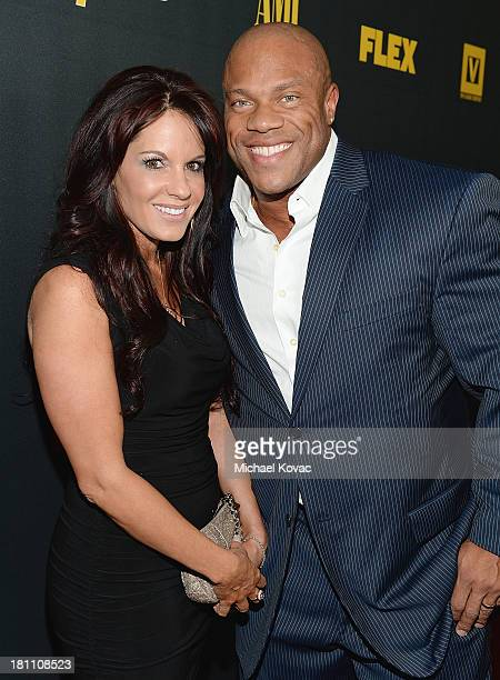 Body builder Phil Heath and wife Jenny Heath attend the Los Angeles Premiere Of 'GENERATION IRON' From The Producer Of Pumping Iron at Chinese 6...