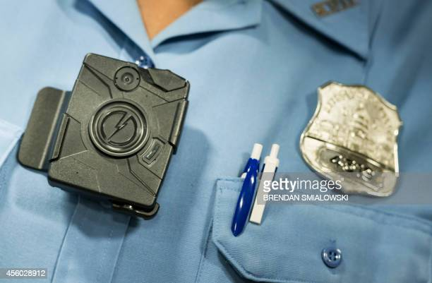 A body camera from Taser is seen during a press conference at City Hall September 24 2014 in Washington DC The Washington DC Metropolitan Police...