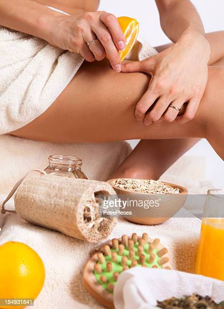 Body Care. Exfoliation Cellulite Massage. Organic. Orang, Oats, Sponge.