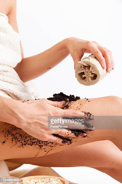 Body care. Natural Organic Cellulite massage with coffee scrub, oats.