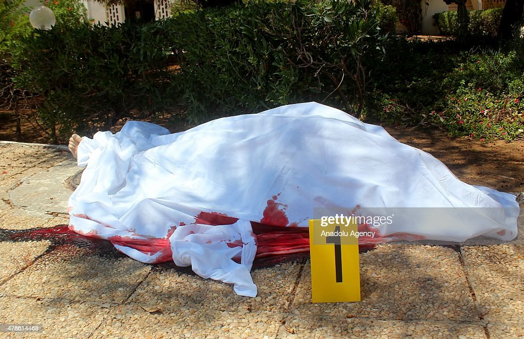 A body is seen after an armed attack on a tourist hotel in Sousse, east Tunisia, left at least 27 people dead, including foreigners, and injured six others , on June 26, 2015.