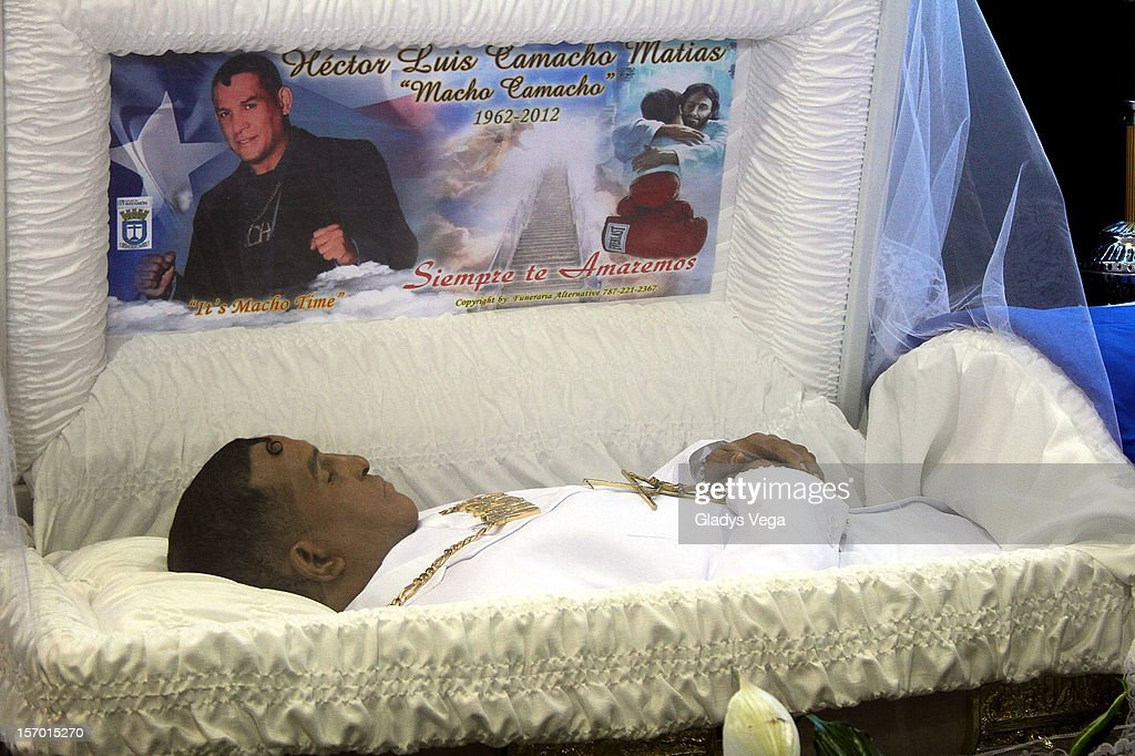 Body of boxing legend Hector Macho Camacho is seen during in a public memorial service at Department of Sports and Recreation on November 27, 2012 in San Juan, Puerto Rico.