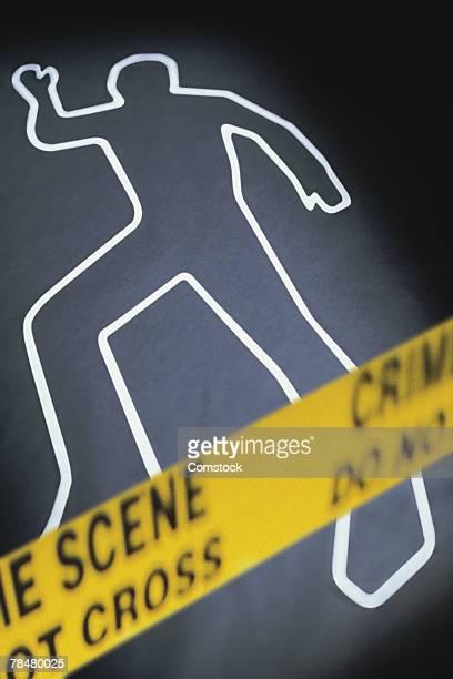 Body outline at crime scene