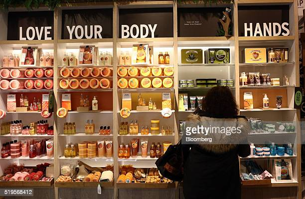 Body Shop cosmetics sit on display inside a Body Shop International Plc store owned by L'Oreal SA in London UK on Thursday April 6 2016 The Body Shop...