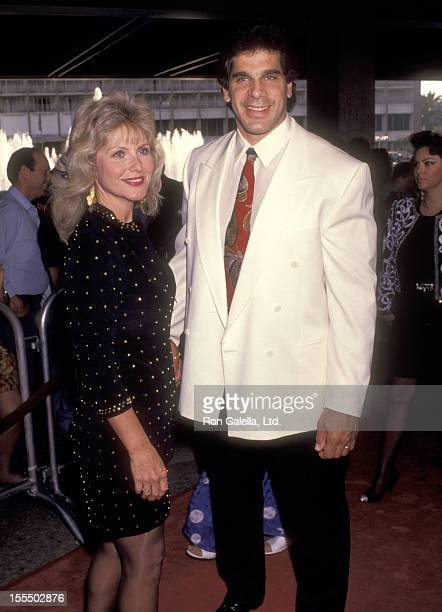 Bodybuilder and Actor Lou Ferrigno and wife Carla Green attend the Terminator 2 Judgment Day Los Angeles Premiere on July 1 1991 at Cineplex Odeon...