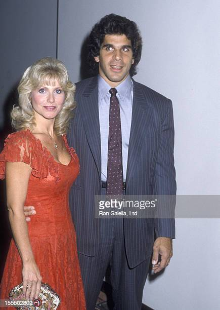 Bodybuilder and Actor Lou Ferrigno and wife Carla Green attend the Cannon Party on October 21 1986 at Century Plaza Hotel in Los Angeles California