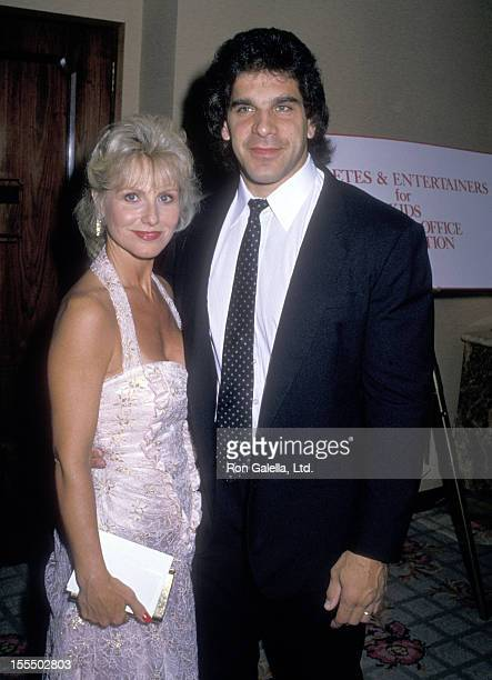 Bodybuilder and Actor Lou Ferrigno and wife Carla Green attend the For The Love of Children AIDS Benefit on July 8 1988 at Century Plaza Hotel in Los...