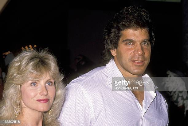 Bodybuilder and Actor Lou Ferrigno and wife Carla Green attend the Universal City Premiere of The Dream Team on April 4 1989 at Universal City...
