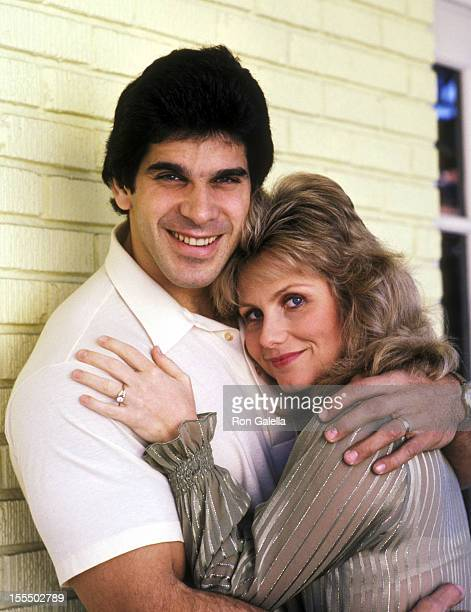 Bodybuilder and Actor Lou Ferrigno and wife Carla Green on January 21 1982 welcome photographer Ron Galella on a Tour of Lou Ferrigno's home in Santa...