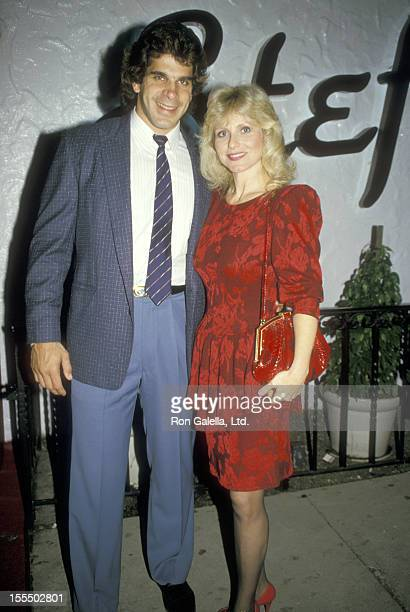 Bodybuilder and Actor Lou Ferrigno and wife Carla Green on March 4 1987 dining at Stefanina's in Los Angeles California