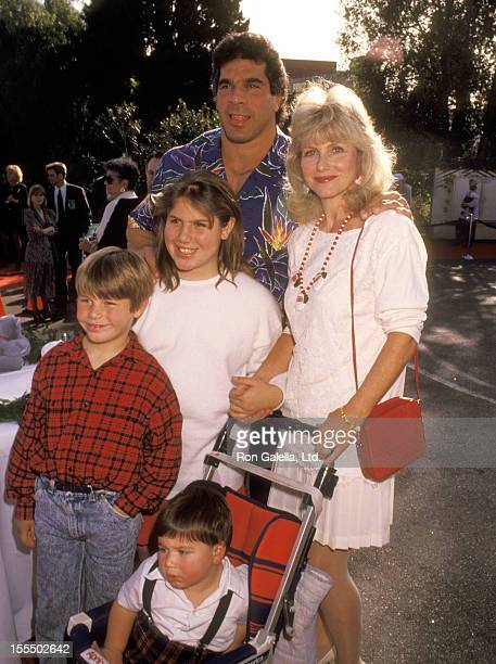 Bodybuilder and Actor Lou Ferrigno wife Carla Green daughter Shanna Ferrigno son Lou Ferrigno Jr and son Brent Ferrigno attend the First Annual Toys...