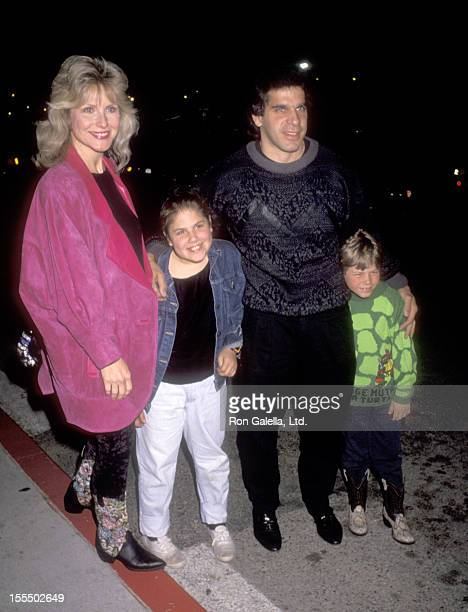 Bodybuilder and Actor Lou Ferrigno wife Carla Green daughter Shanna Ferrigno and son Lou Ferrigno Jr attend the Moscow Circus Opening on March 6 1991...