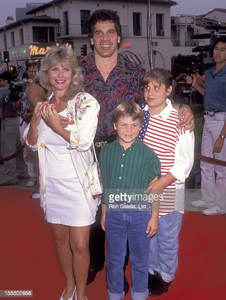 Bodybuilder and Actor Lou Ferrigno wife Carla Green daughter Shanna Ferrigno and son Lou Ferrigno Jr attend the Double Impact Westwood Premiere on...