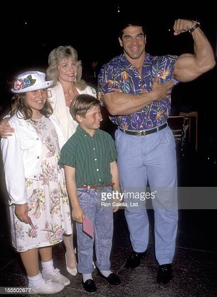 Bodybuilder and actor Lou Ferrigno wife Carla Green daughter Shanna Ferrigno and son Lou Ferrigno Jr attend the Christmas in Connecticut Screening on...