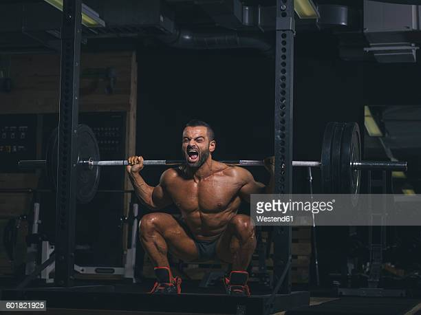 Bodybuilder performing squats with a barbell in gym