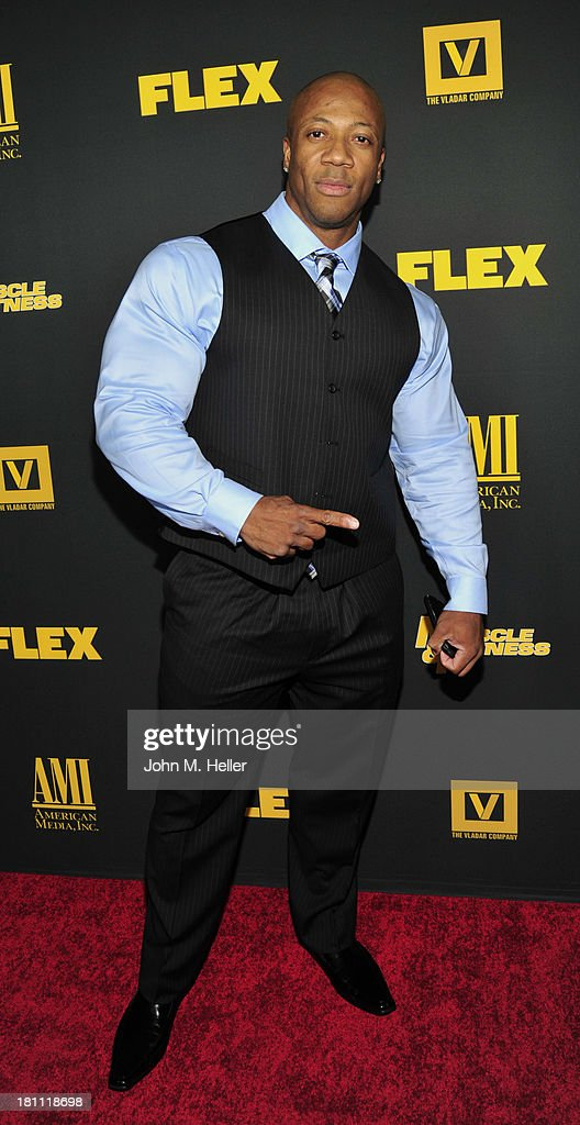 Bodybuilder Shawn Rhoden attends the Los Angeles premiere of 'Generation Iron' at the Chinese 6 Theatres in Hollywood on September 18, 2013 in Hollywood, California.
