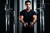 Bodybuilder Training In The Gym Crossover. Handsome athlete man.