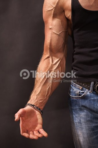 Bodybuilders Hand And Arm With Veins Stock Photo | Thinkstock