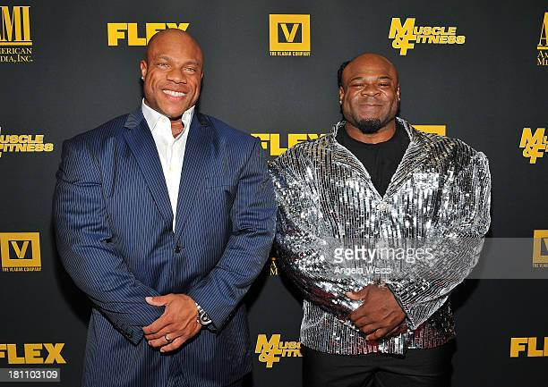 Bodybuilders Phil Heath and Kai Greene arrive at the Los Angeles premiere of 'GENERATION IRON' at Chinese 6 Theater Hollywood on September 18 2013 in...