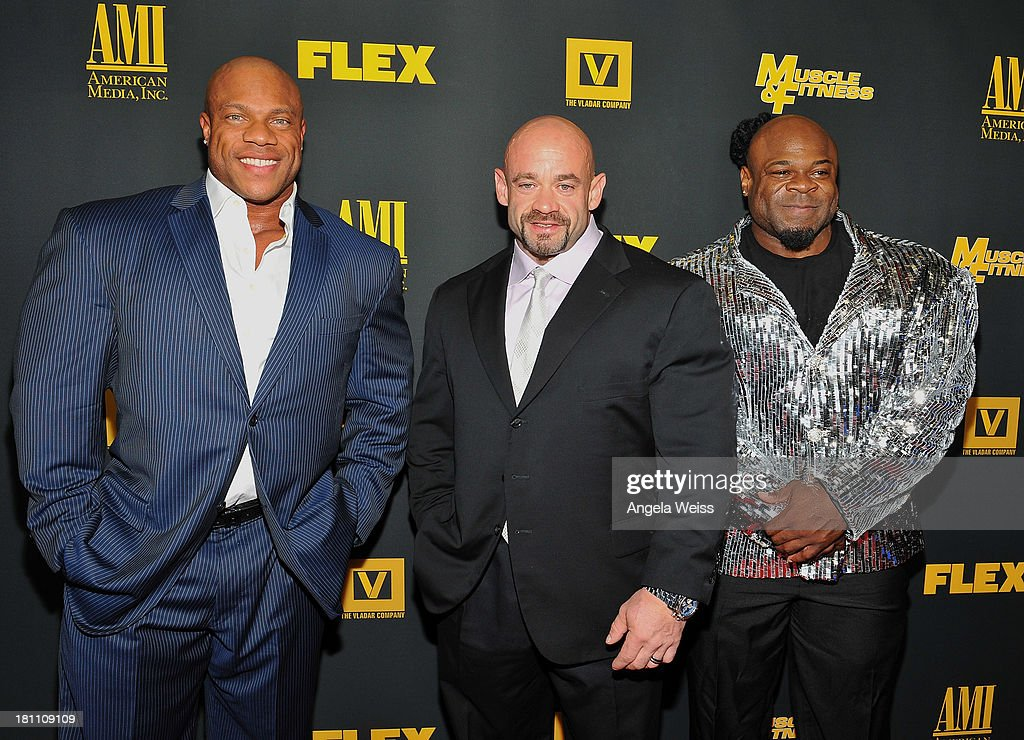 Bodybuilders Phil Heath, Branch Warren and Kai Greene arrive at the Los Angeles premiere of 'GENERATION IRON' at Chinese 6 Theater Hollywood on September 18, 2013 in Hollywood, California.