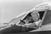 TWA Boeing 727 captain John L Testrake from Richmond Missouri emerges from the cockpit of his hijacked airliner 19 June 1985 at Beirut airport to...