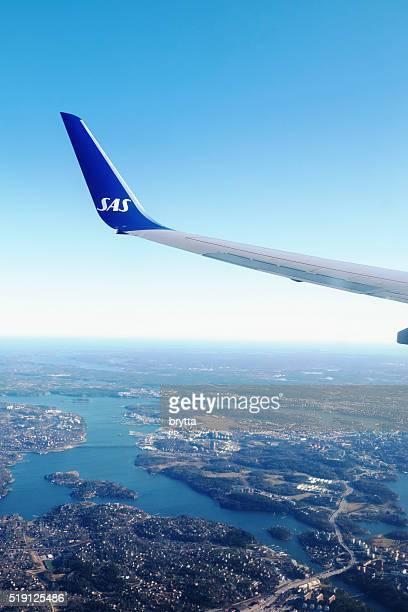 SAS Boeing 737 approaching Arlanda Airport at Stockhom