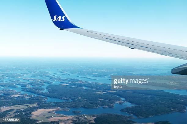 SAS Boeing 737 approaching Arlanda Airport at Stockhom,Sweden