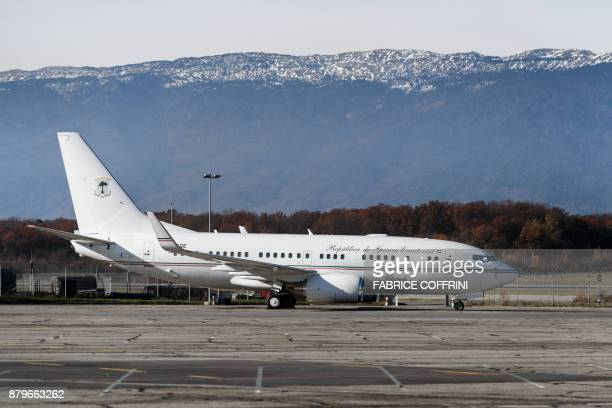 A Boeing 737 BBJ aircraft with registration 3CEGE of the Equatorial Guinea Government is seen at a long term parking area at Geneva Airport on...