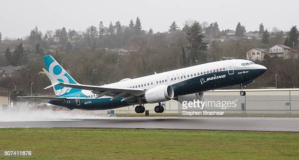 Boeing 737 MAX 8 airliner lifts off for its first flight on January 29 2016 in Renton Washington The 737 MAX is the newest of Boeing's most popular...