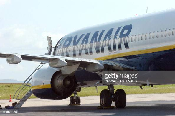 A Boeing 737 which was carrying 168 passengers and seven crew members from Bristol to Barcelona sits on the tarmac at Limoges airport central France...
