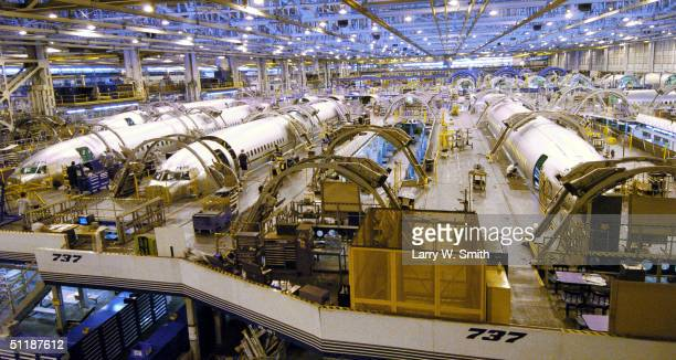 Boeing 737800 fusalages sit in production at the Boeing Wichita plant August 18 2004 in Wichita Kansas Boeing reportedly is trying to sell the...