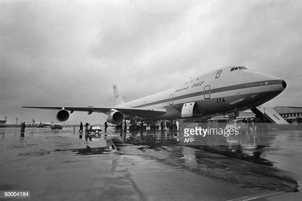 A Boeing 747 airplane is displayed on Le Bourget Airport on June 03 1969 On September 30 the first 747 was rolled out of the Everett assembly...