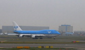 A Boeing 747 airplane of Dutch airline company KLM prepares for take off at the Amsterdam Schipol international airport some 20km south west of...